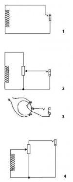 (1) прямое подключения датчика; (2), (3) подключение датчика через потенциометр громкости; (4) не правильное подклчение потенциометра
