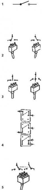 Виды переключателей и их схематическое изображение Рис (1), (2), (3), (4), (5)