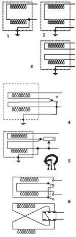 Схемы распайки хамбакера Рис (1)-(6)